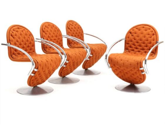 """""""System 1-2-3"""". Four swivel chairs with circular aluminium foot"""