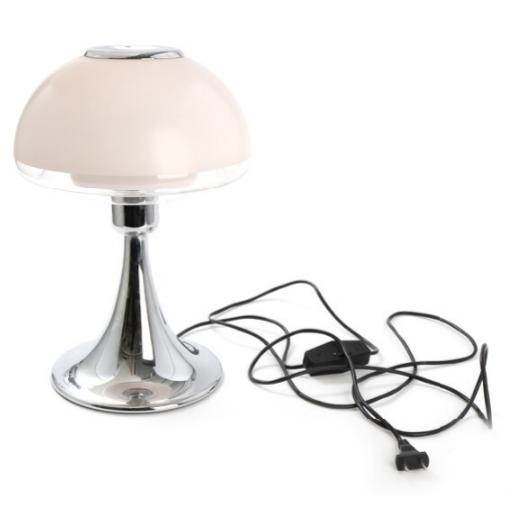 """VP Europa"". Table lamp with shade of clear/frosted glass with chromed stand"
