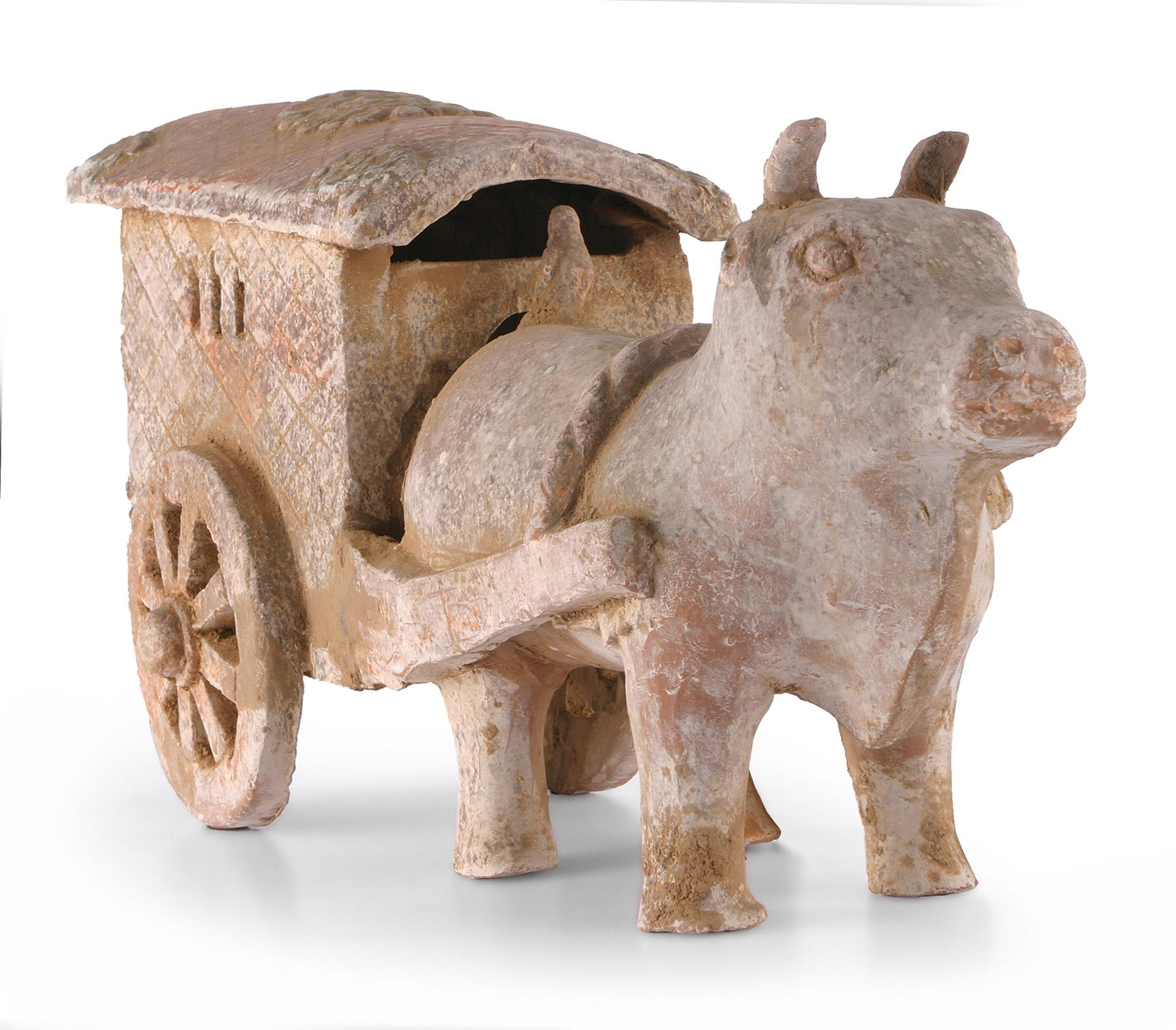 CHINESE PAINTED EARTHENWARE OX AND CART