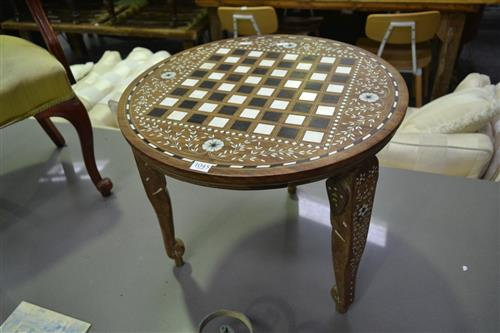 Inlayed Side Table with Chess board Top
