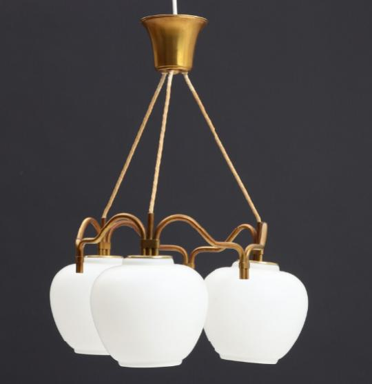 Ceiling lamp with brass shadeholder and canopy, three frosted opal glass shades