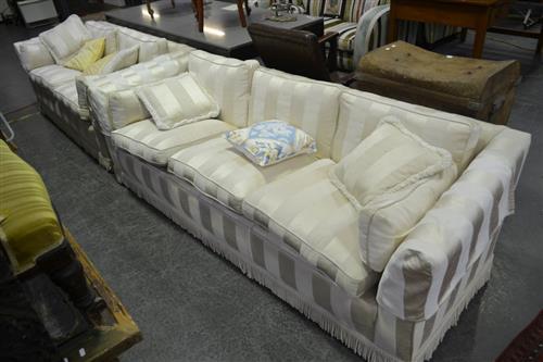 2 and 3 Seater Sofas In Herringbone White Upholstery