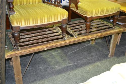 Large Timber Converted Coffee Table With Iron Insert Top