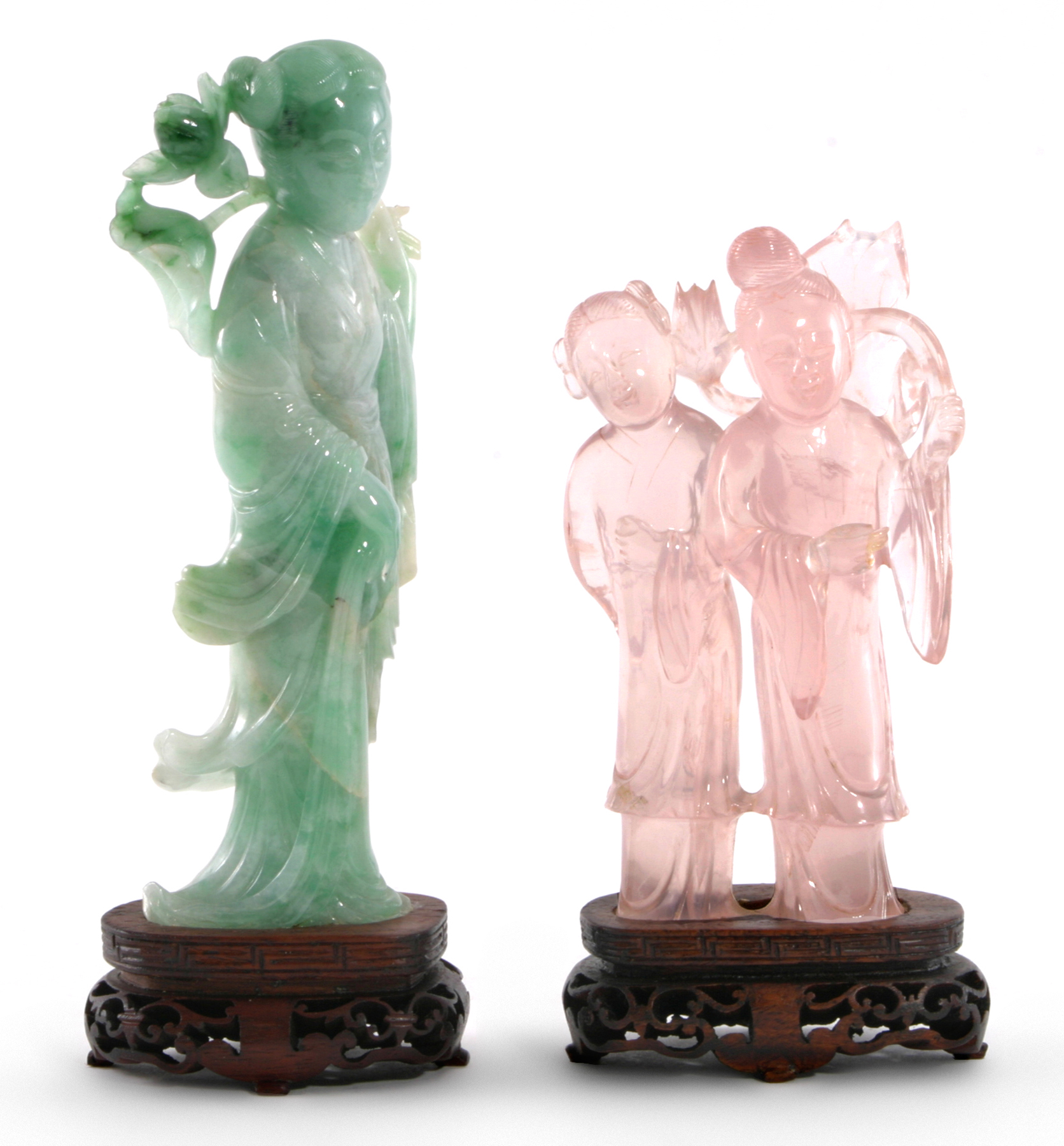 TWO CHINESE HARDSTONE FIGURES