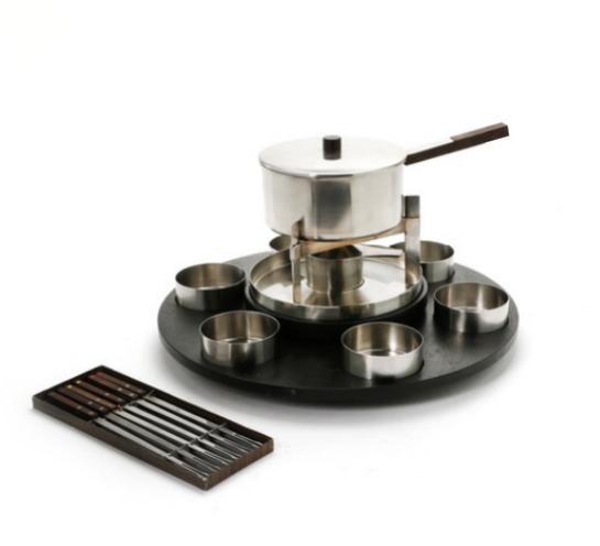 """Lazy Susan"", etc. Stainless steel fondue set with black painted teak dish"