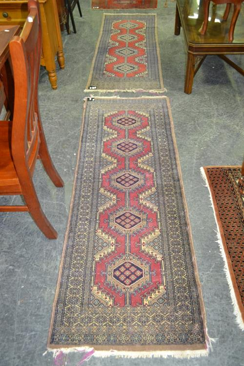 2 Similar Floor Runners with Worn Ends