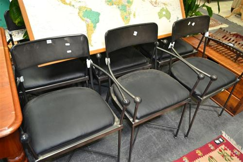 Set Of Six Industrial Armed Metal Chairs w Padding