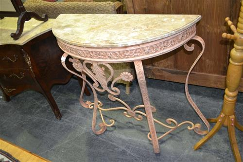 Bow Front Side Table w Marble Top over Metal Base