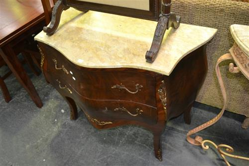 French Style Marble Top Bombe Commode w 2 Drawers & Metal Mounts