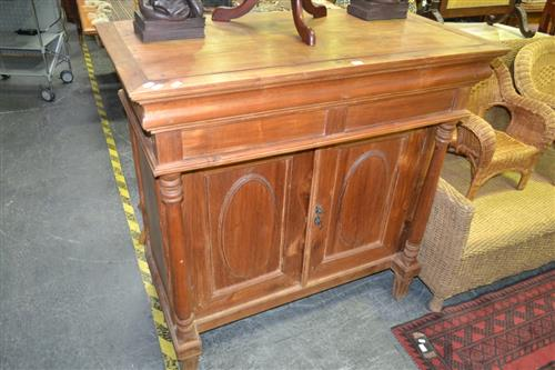 Raised Timber Sideboard w 2 Doors & Column Supports
