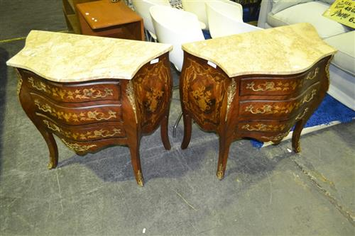 Pair of French Style Marble Top Bedside Cabinets w Metal Mounts on Cabriole Legs
