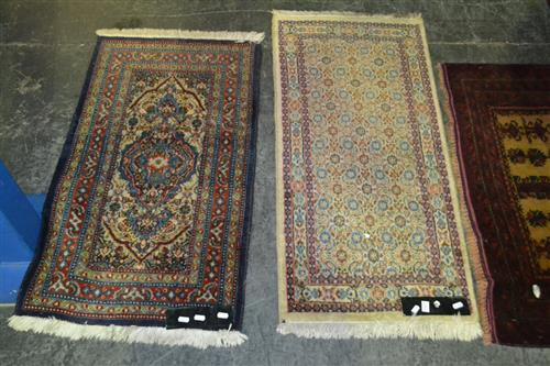 2 Prayer Mats one in Blue Tones with another 95 x 55 cm & 105 x 50 cm