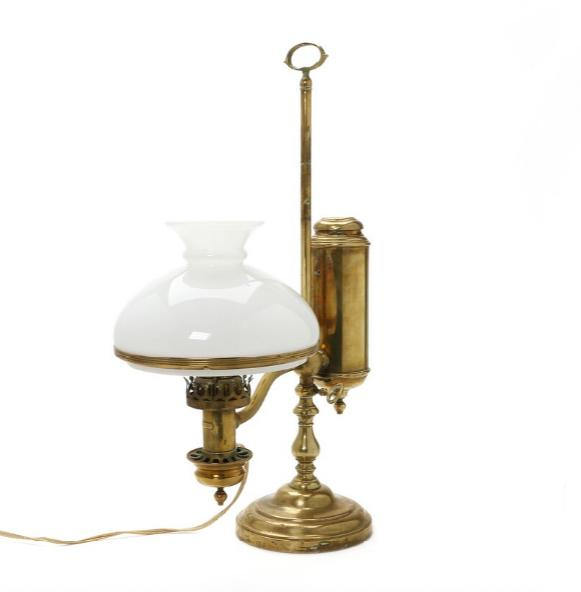 Brass oil lampe with white glass shade