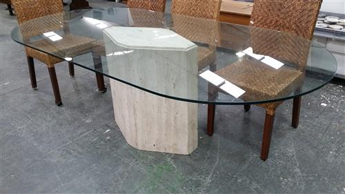 Travertine Dining Table w Glass Top