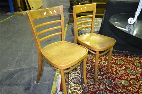 Set Of Four Bentwood Base Dining Chairs