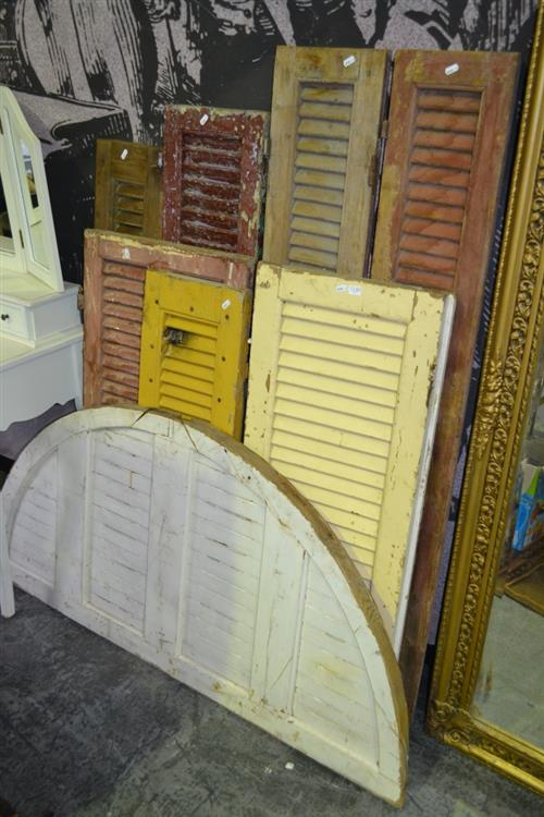 Collection of 8 Varied Timber Shutters & Timber Arc Transom