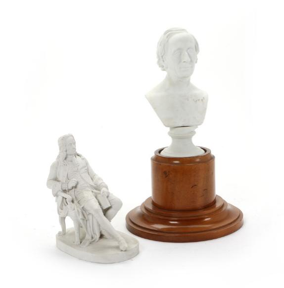 Two bisquit figurines depicting seated Ludvig Holberg and H.C