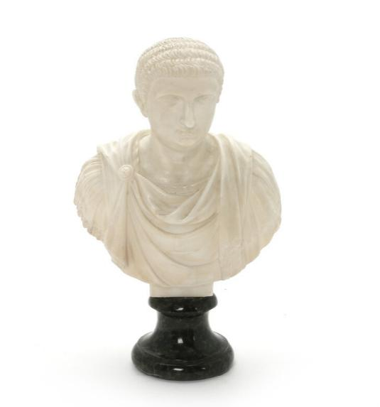 White and green marble bust depicting Roman