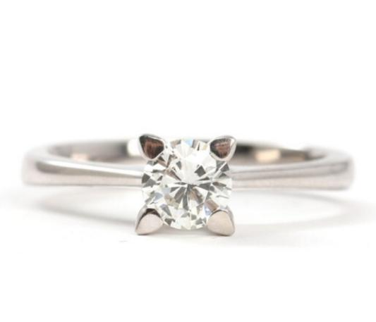 Diamond ring set with a brilliant-cut diamond weighing 0.50 ct. mounted in 18k white gold. Size 53