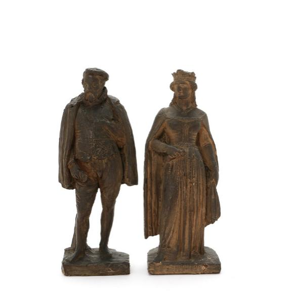 A pair of 19th century patinated terracotta figurines depicting Queen Philippa and Eric of Pomerania