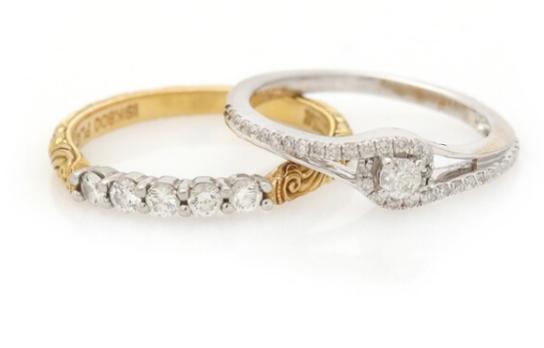Two diamond rings each set with numerous brilliant-cut diamonds