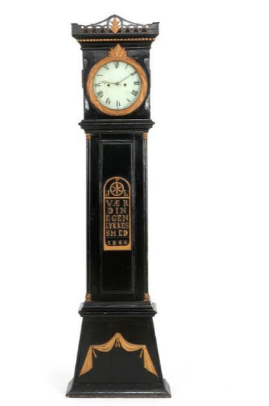 A black-painted Danish late Empire longcase clock