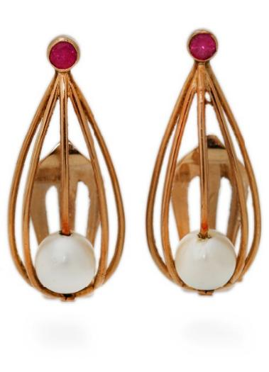A pair of pearl and ruby ear clips each set with a cultured pearl