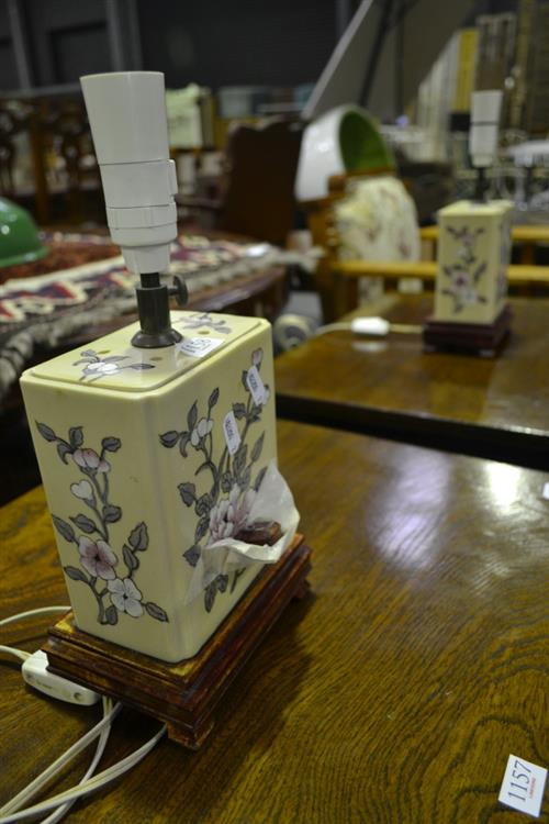 Pair Of Ceramic Table Lamps (overseas Plugs)