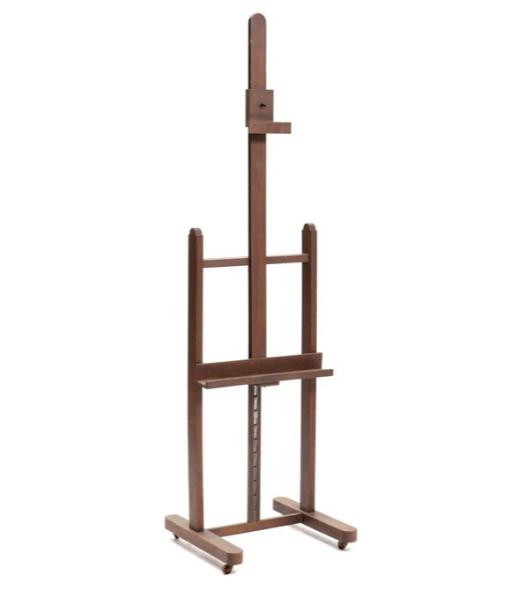 A 20th century height adjustable brown stained easel