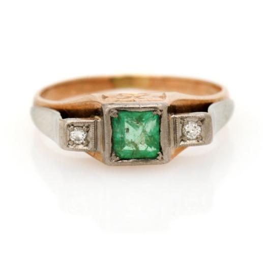 An emerald and diamond ring set