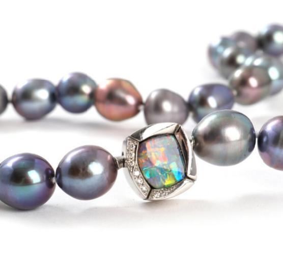 Opal and diamond clasp set