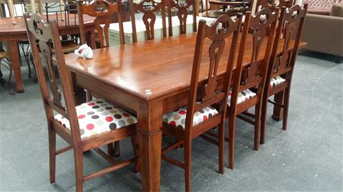 Arts & Crafts Style Timber Nine Piece Dining Setting Inc Table On Tapering Legs And Eight Chairs