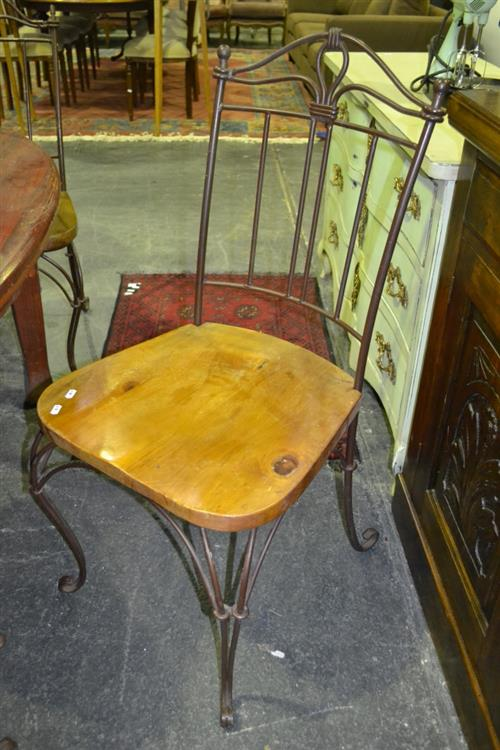 Set of 6 Metal Dining Chairs with Timber Seats