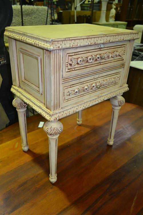 Heavily Carved 2 Drawer Bedside Cabinet