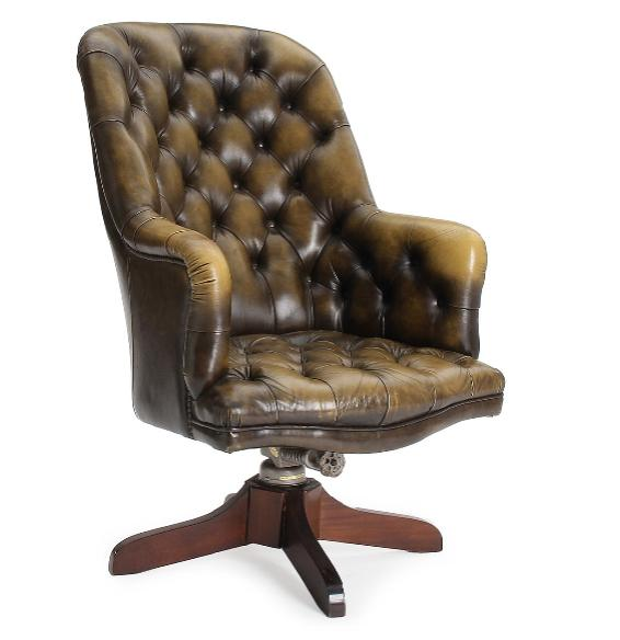 An English 20th century office chair, upholstered with greenish leather, swivel mahogany base.