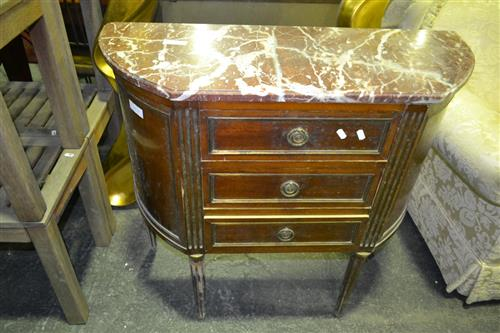 Raised Three Drawer Chest On Fluted Legs With Marble Top