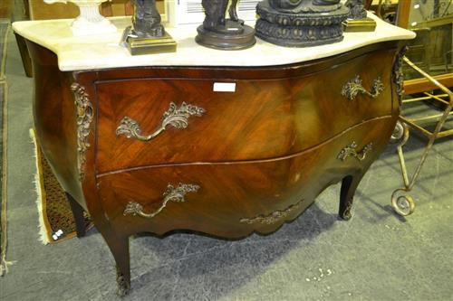 French Style Marble Top Bombe Commode w 2 Drawers & Metal Mounts  Figures & Small Timber Wall Mount Cabinet (7) hest On Fluted L
