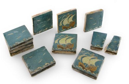 COLLECTION OF TEN GRUEBY FAIENCE COMPANY TILES