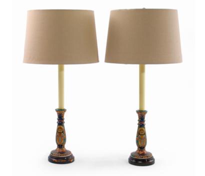 PAIR OF POLYCHROME PAINTED PAPIER MACHE TABLE LAMPS