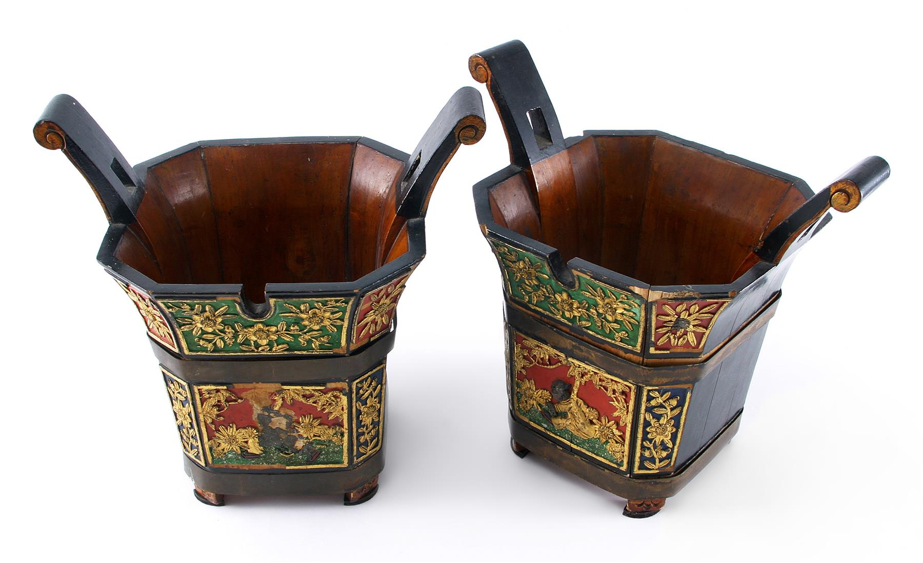 PAIR OF POLYCHROME PAINTED CACHE POTS