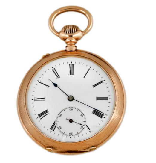 A. Lange & Söhne 14k gold open-face and pin-set pocket watch