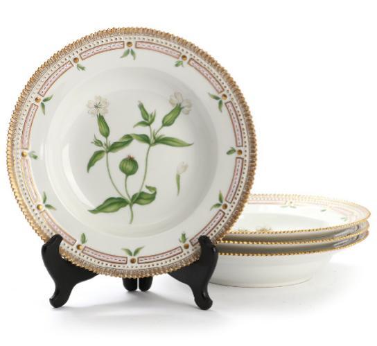 """""""Flora Danica"""". Four deep Royal Copenhagen porcelain plates"""