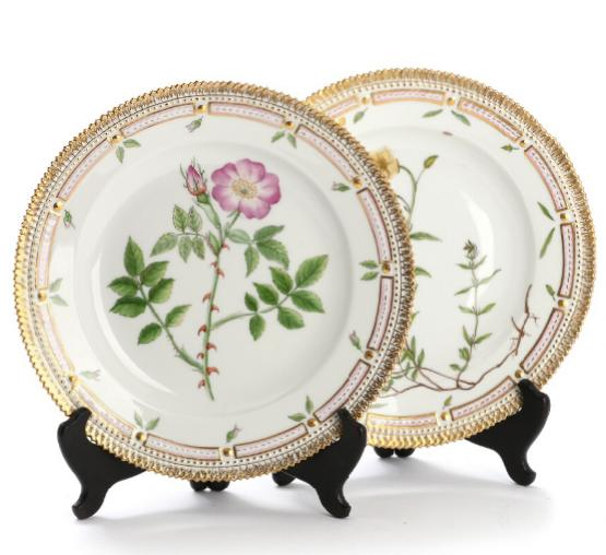 """Flora Danica"". Two Royal Copenhagen porcelain dinner plates decorated in colours"