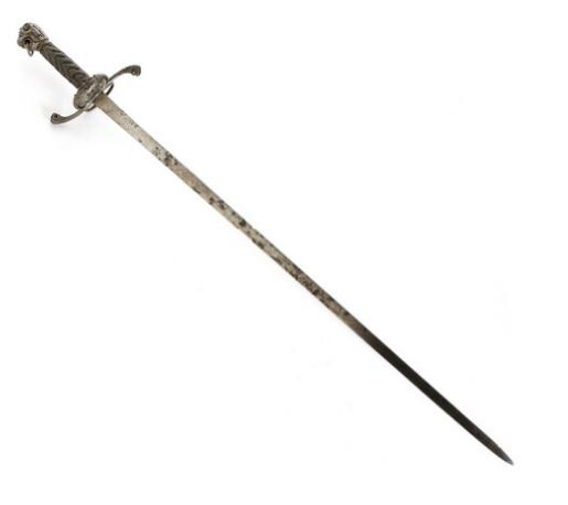 An English? Iron mounted small sword with a lionheaded pommel 17th? cent
