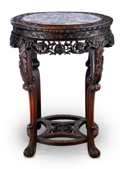 QING CARVED TABLE WITH PORCELAIN MEDALLION