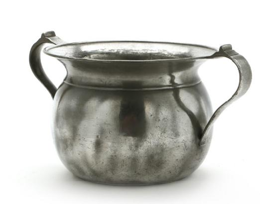 A Danish pewter chamber pot engraved
