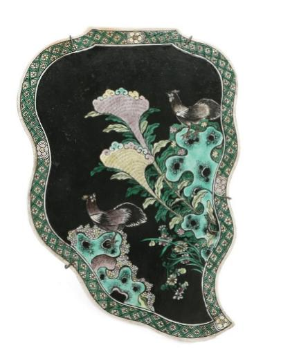 Chinese famille noir leaf-shaped porcelain plaque