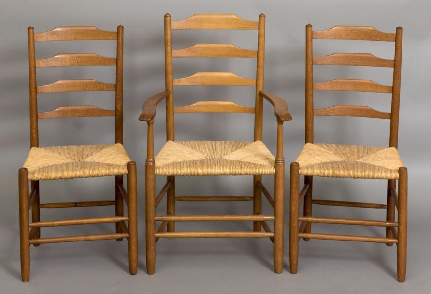 COTSWOLD SCHOOL, SET OF DINING CHAIRS