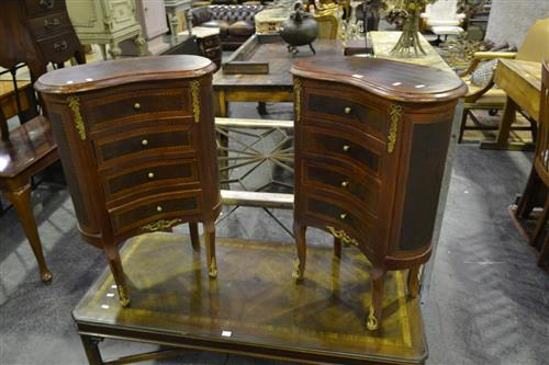 Pair of 4 Drawer Kidney Shaped Cabinets w Metal Mounts