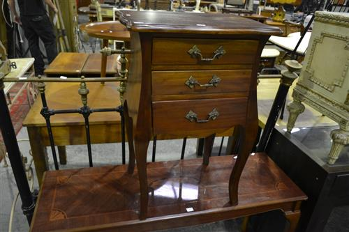 3 Drawer Bedside Cabinet on Cabriole Legs